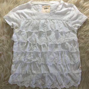 Hollister floral lace ruffle T-shirt Blouse